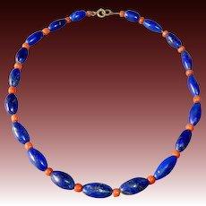 Antique Ethnic Genuine Lapis & Coral Bead Necklace