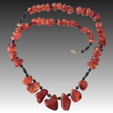 Natural Honey Amber Nugget & Black Glass Bead Necklace