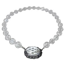 Art Deco Faceted Rock Crystal Bead Necklace Dramatic Sterling Clasp
