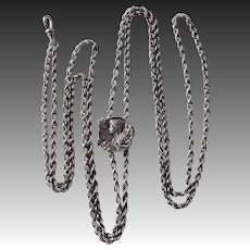 Art Nouveau Sterling Watch Chain Necklace w Woman Slide