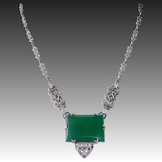 Art Deco Sterling & Marcasite Necklace w Chrysoprase