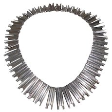 Dramatic Mexican Sterling Architectural Design Collar Necklace