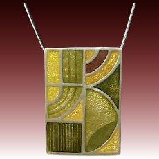 MOMA Resin Enamel Sterling Pendant/Pin Frank Lloyd Wright Inspired