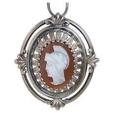 Sterling & Hand Carved Roman Warrior Shell Cameo w Snake Chain Necklace