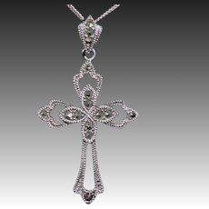 Elegant Sterling & Marcasite Pierced Cross Necklace