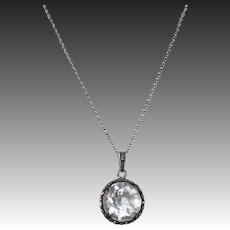 Art Deco Sterling & Crystal Pendant Necklace