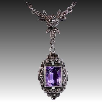 Art Deco Sterling Marcasite & Amethyst Necklace