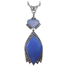 Art Deco Sterling & Marcasite Pendant Necklace w Chalcedony