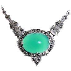 Art Deco Sterling Marcasite & Chrysoprase Necklace