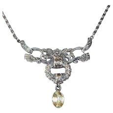 Art Deco Sterling Necklace w Marcasites & Citrine Drop