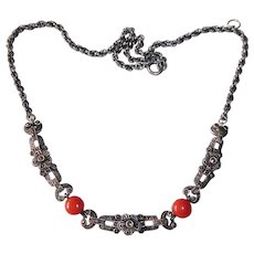 Art Deco Sterling Marcasite & Coral Necklace