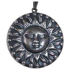 Sterling Silver Repousse Sun Pendant Necklace