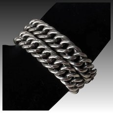 Chunky Sterling Chain Bracelet Pair Converts to Necklace