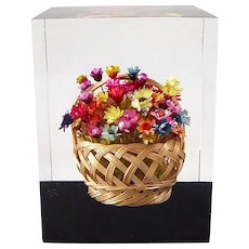 Lucite Paperweight w Vibrant Basket of Flowers