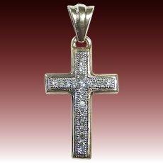 10k Yellow & White Gold Petite Cross w Diamonds
