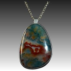 English Sterling Fab Moss Agate Pendant Necklace