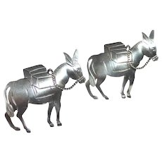 1950s Mexican Sterling Donkey Pair Scatter Pins