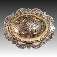 Antique Victorian Hand Engraved Oval Dome Pin