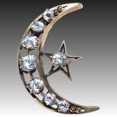 Antique 10k Rose Gold Crescent Moon & Star Pin w Paste