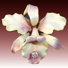 Whiteside & Blank Art Nouveau 14K Iridescent Enamel Orchid Pin w Diamond