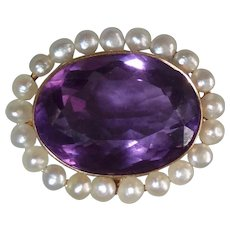14k Antique Edwardian Amethyst & Pearl Pin