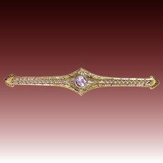 14k Edwardian Lacy Filigree Pin w Amethyst