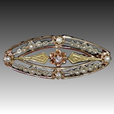 14k Antique Tri Color Gold Edwardian Pin w Pearls & Diamond