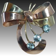 Art Deco/Retro 14k Bi-Color Stylized Bow Pin 3 Natural Blue Zircon
