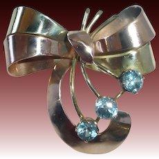 Art Deco/Retro 14k Bi-Color Stylized Bow Pin 3 Natural Blue Zircon
