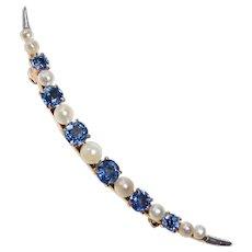 Edwardian 14k Crescent Moon Pin Sapphires & Fresh Water Pearls
