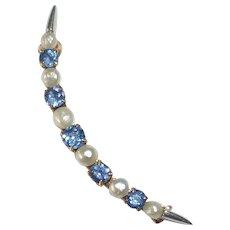 Edwardian 14k Crescent Moon Pin Sapphires & Fresh Water Pearls by Krementz
