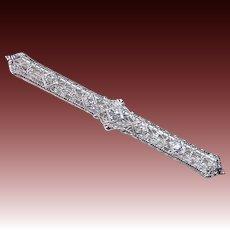 Art Deco 14k White Gold Filigree Diamond Bar Brooch