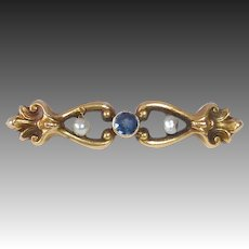 14k Victorian Lace Pin Sapphire & Fresh Water Pearls