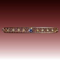 14k Edwardian Filigree Bar Pin Sapphire & Seed Pearls