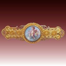 Exceptional 18k Victorian Etruscan Revival Pin w Cherub Angel Enamel