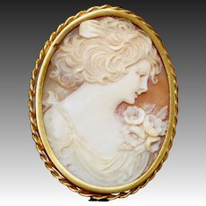 Antique Edwardian 18k Shell Cameo Beautiful Young Woman