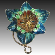 800 Silver Filigree w Gold Wash & Enamel Sculptural Orchid Pin
