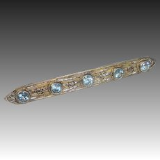 Blue Zircon 800 Silver Filigree Pin Gold Wash