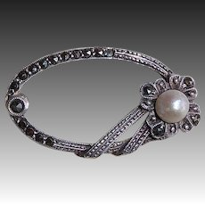 Edwardian Sterling 935 Marcasite & Pearl Pin