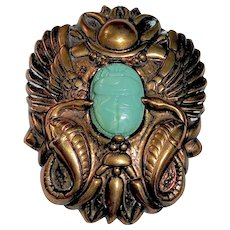 Art Deco Egyptian Revival Brass Pin w Celluloid Scarab