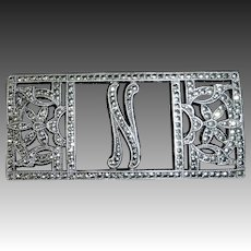 Art Deco Sterling & Sparkling Marcasite Initial N Pin