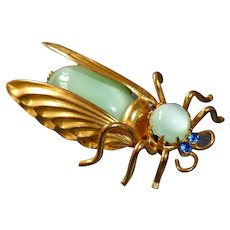 Czech Gilt Brass & Moonstone Glass Winged Bug Pin