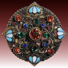 Czech Multicolor Glass Jewel & Enamel Layered Brass Pin
