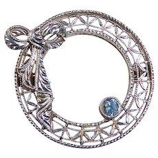 14k Art Deco Filigree Circle Pin w Bow & Sapphire