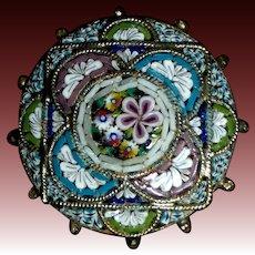 Victorian Italian Mosaic Brass Pin Geometric & Floral Design