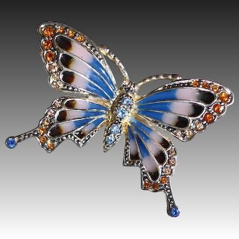 Monet Silver Plate Pique a Jour Enamel & Jeweled Butterfly Pin