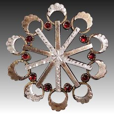 Aesthetic Victorian Pin 10k Rose Gold & Sterling Top Pin w Garnets