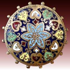 Antique Victorian Ornate Brass Multi Color Cloisonne Enamel Pin