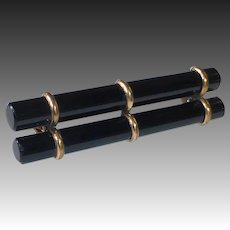 Victorian RGP Black Onyx Double Rod Mourning Pin