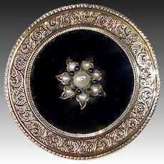 14k Victorian Engraved Mourning Pin Onyx & Seed Pearls